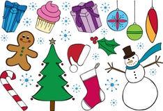 圣诞节主题的乱画 免版税库存图片