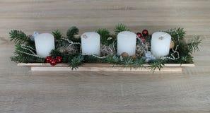 圣诞节Adventskranz 蜡烛 星形 强记 免版税库存图片