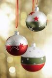 圣诞节baubels和copyspace 免版税库存图片