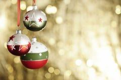 圣诞节baubels和copyspace 图库摄影