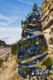 圣诞节cliffside结构树 库存图片
