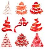 圣诞节collecton风格化结构树 免版税库存照片