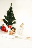 圣诞节gril 库存照片