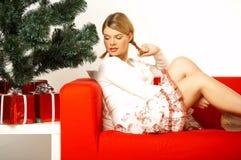 圣诞节gril 免版税库存图片