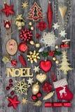 圣诞节Noel标志和装饰 免版税库存照片