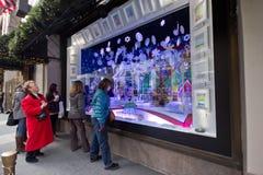 圣诞节nyc视窗 免版税库存照片
