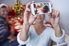 圣诞节selfie 库存照片