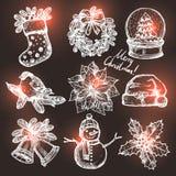 圣诞节Sketchs的汇集 库存照片