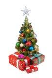 圣诞节tree&gift配件箱2 免版税库存图片