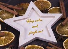 圣诞节Xmas新年假日卡片用木星cinnamone星anice干桔子和文本保留安静和丁当  免版税库存照片