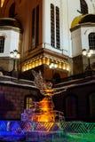 圣诞装饰做了冰靠近东正教在晚上 免版税库存图片