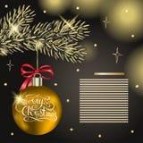 圣诞装饰,传染媒介例证 与红色和银色圣诞节球的云杉的分支 在黑暗的杉树分支 向量例证
