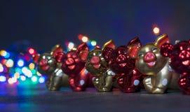 圣诞装饰,猪 免版税库存图片