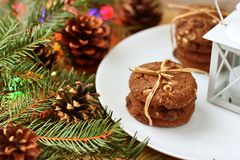 圣诞装饰-圣诞老人项目的燕麦针叶树饼干和分支  免版税图库摄影
