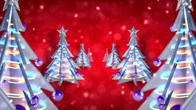 圣诞装饰xmas树圈红色闪烁 股票录像