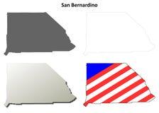 圣贝纳迪诺县,加利福尼亚概述地图集合 免版税库存照片
