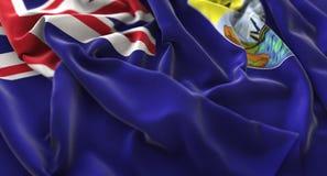 圣赫勒拿岛旗子被翻动的美妙地挥动的宏观特写镜头射击 免版税图库摄影