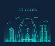 圣路易斯市地平线线性密苏里美国的传染媒介 库存例证