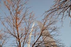 圣路易斯曲拱在冬天 免版税库存照片