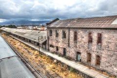 圣路易斯波托西州,墨西哥的被放弃的火车站 免版税库存图片