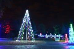 圣路易斯,密苏里,美国- 2017年11月22日:庭院焕发在植物园的假日光 库存图片
