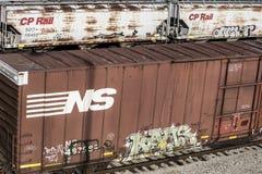 圣路易斯,密苏里,被团结状态大约2018加拿大和平的铁路有盖货车列车车箱和诺福克南部的棚车 免版税库存照片