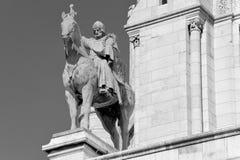 圣路易黑白骑马雕象  库存图片