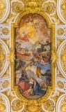 圣路易dei Francesi教会的华丽天花板在罗马 库存照片