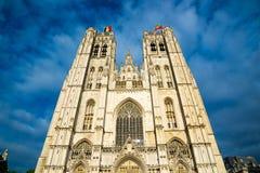 圣迈克尔和圣Gudula大教堂在布鲁塞尔,比利时 免版税库存图片