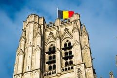 圣迈克尔和圣Gudula大教堂在布鲁塞尔,比利时 库存照片