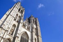 圣迈克尔和圣Gudula大教堂在布鲁塞尔 免版税库存照片