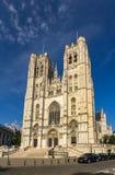 圣迈克尔和圣Gudula大教堂在布鲁塞尔 免版税图库摄影