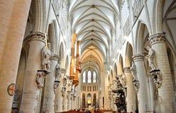圣迈克尔和圣Gudula,布鲁塞尔,比利时大教堂  免版税库存照片
