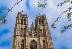 圣迈克尔和Gudula大教堂在布鲁塞尔比利时 图库摄影