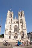 圣迈克尔和Gudula大教堂在布鲁塞尔,比利时 库存图片