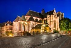 圣迈克尔教会在跟特,比利时 库存图片