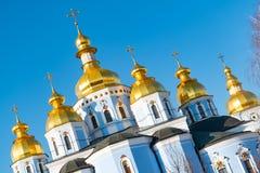 圣迈克尔的金黄半球形的修道院,经典之作攀爬,大教堂,乌克兰的大教堂圆屋顶的金黄圆屋顶 库存图片