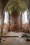 圣迈克尔被烧的教会内部在Stara锡勒,乌克兰 库存图片
