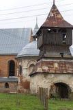 圣迈克尔被烧的XVII世纪教会在Stara锡勒 乌克兰 免版税库存照片