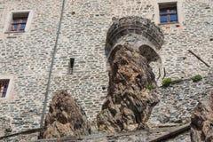 圣迈克尔` s修道院的前面片段在Val di苏萨 山麓 意大利 库存图片