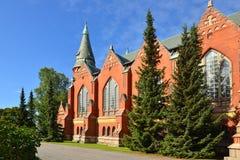 圣迈克尔` s教会是在中央图尔库位于的教会 它以天使s命名的`迈克尔和在1905年被完成了 Suomi 图库摄影