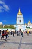圣迈克尔` s金黄半球形的修道院 在Kyiv包括大教堂,乌克兰的首都 著名宗教地方在英国 免版税库存照片