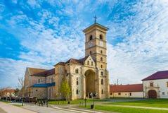 圣迈克尔` s,宽容大教堂在阿尔巴尤利亚,特兰西瓦尼亚,罗马尼亚 免版税图库摄影