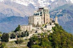 圣迈克尔Val di苏萨,托里诺,意大利的` s修道院 库存照片