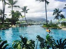 圣里吉斯手段的Princeville考艾岛夏威夷热带天堂 库存照片