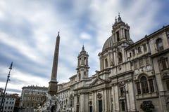 圣阿格尼丝在广场Navona,罗马的教会门面 免版税库存照片