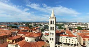 圣阿纳斯塔西娅大教堂塔在扎达尔,克罗地亚 影视素材