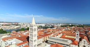 圣阿纳斯塔西娅大教堂塔在扎达尔,克罗地亚 股票录像