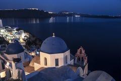 圣阿纳斯塔西娅希腊东正教在圣托里尼海岛上的Oia在希腊 图库摄影