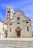 圣阿纳斯塔西娅钟楼St多纳特教会、论坛和大教堂在扎达尔 库存照片